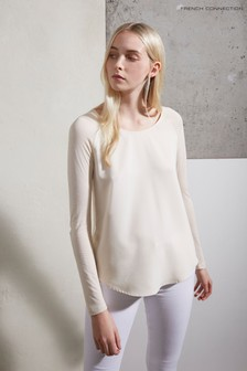 French Connection Cream Polly Plains Long Sleeve T-Shirt