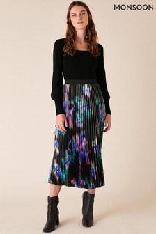 Monsoon Blur Print Pleated Midi Skirt