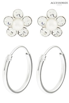Accessorize Clear St Flower And Hoop Set