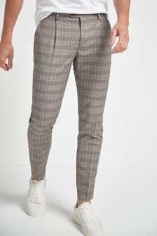 Linen Blend Check Suit: Trousers