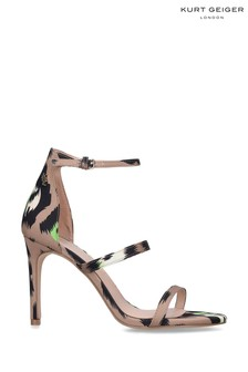 Kurt Geiger London Tan Park Lane Leopard Fabric Heels