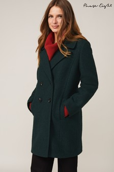Phase Eight Green Lucine Double Breasted Wool Coat