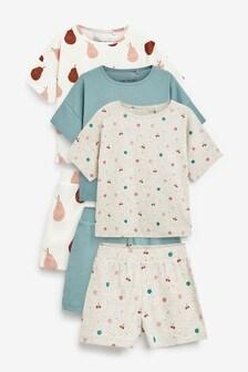3 Pack Fruit Rib Pyjama Shorts With Dropped Shoulder Boxy T-Shirt (9mths-16yrs)