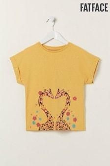 FatFace Yellow Giraffe Graphic T-Shirt