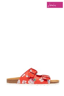 Joules Red Penley Printed Slider Sandals