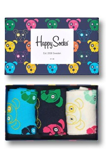 Happy Socks Multi Socks Three Pack Dog Gift Box