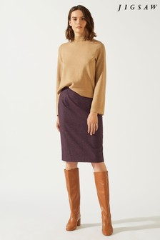 Jigsaw Plum Rose Donegal Pencil Skirt