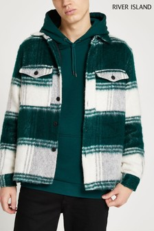 River Island Ecru Hairy Teal Check Overshirt