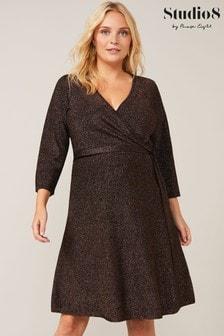 Studio 8 Bronze Jessica Shimmer Knitted Wrap Dress