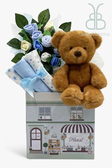 Babyblooms New Baby Blue Welcome Hamper With Charlie Bear Soft Toy