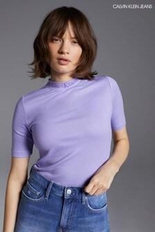 Calvin Klein Jeans Purple Logo Trim Rib T-Shirt