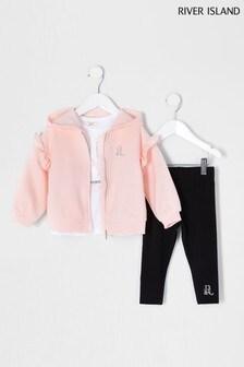 River Island Pink Hoody/T-Shirt/Legging 3 Piece Set