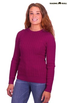 Raging Bull Purple Cable Knit Crew Neck Jumper