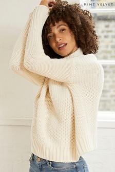 Mint Velvet Cream High Neck Chunky Jumper