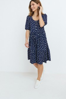 Button Front Scoop Neck Dress