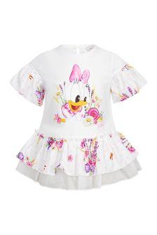 Monnalisa Baby Girls White Cotton T-Shirt