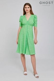 Ghost London Green Angelina Megan Meadow Print Crepe Dress