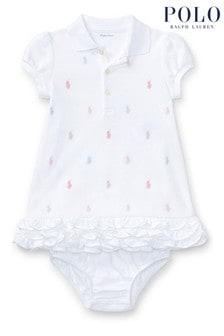 Ralph Lauren White All Over Multi Logo Polo Dress