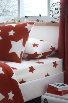 Bedlam Red Stars Brushed Cotton Fitted Sheet