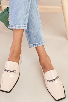 Square Toe Chain Loafers