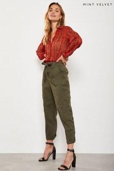 Mint Velvet Green Tie Waist Cargo Trouser