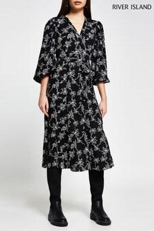 River Island Black Printed Midi Dress