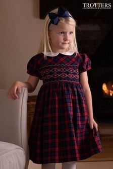 Trotters London Pink Charlotte Smocked Tartan Dress