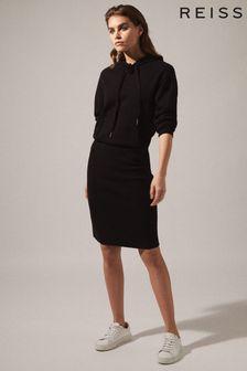 Reiss Black Jodie Knitted Hoodie Dress