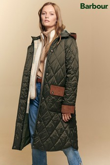 Barbour® ReEnginerred Navy Blue & Green Mickley Quilted Coat