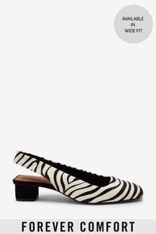Leather Slingback Block Heel Shoes