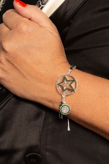 Kate Thornton 'Star & Moon' Green/Silver Tone Bracelet
