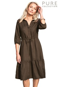 Pure Collection Brown Linen Collared Tie Waist Midi Dress