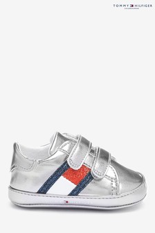 Tommy Hilfiger Silver Velcro Baby Trainers