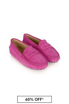 Tods Girls Pink Leather Loafers