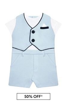 Boss Kidswear Baby Boys Blue Cotton Romper