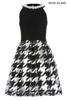 River Island Mono Dogtooth Prom Dress