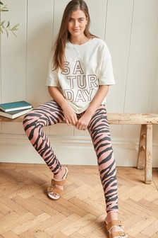 Cotton Blend Tunic and Leggings Pyjama Set