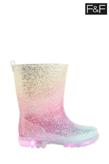F&F Multi Younger Girl Ombre Glitter PVC Light Up Wellies