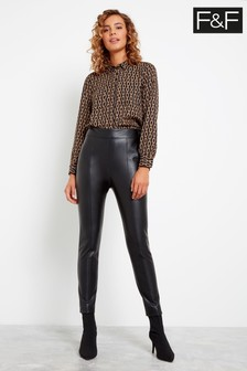F&F Black PU Skinny Trousers