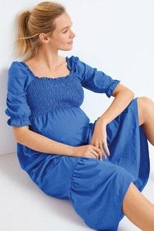 Maternity Shirred Midi Dress