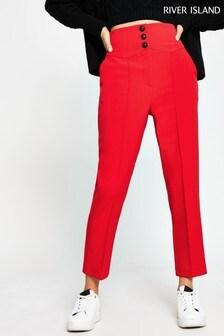 River Island Red Corset Waist Cigarette Trousers