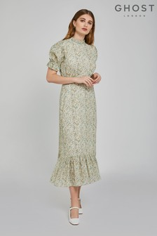 Ghost London Green Solene Hippie Flower Print Cotton Dress