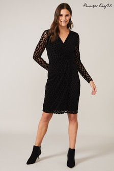 Phase Eight Black Sassy Spot Velvet Dress
