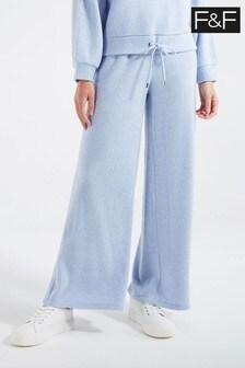F&F Blue Brushed Rib Trousers