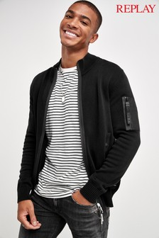 Replay® Black Zip Through Cardigan