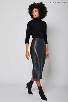 Mint Velvet Black Leather Pencil Skirt