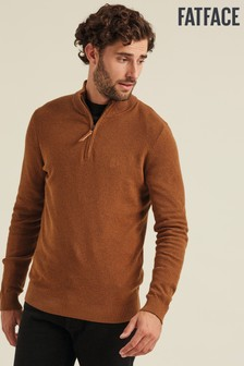 FatFace Brown Cotton Cashmere Stitch Half Jumper