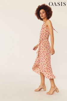 Oasis Natural Spot High Neck Midi Dress