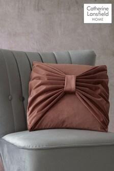 Catherine Lansfield Blush Velvet Bow Cushion