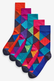 Argyle Pattern Socks Five Pack